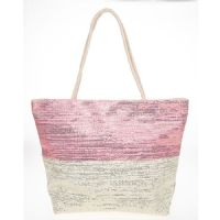 Two Tone Metallic Stitch Tote Beach Bag Pink Cream Zip Top, Lined